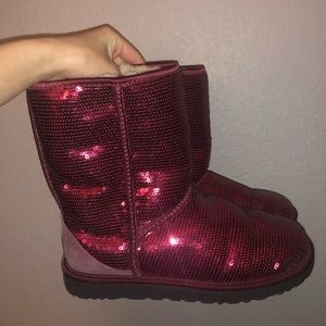 Maroon/ red sequined Uggs